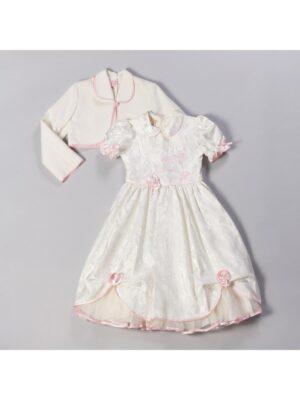 Платье для девочки молочного цвета с розовой отделкой Kamillka