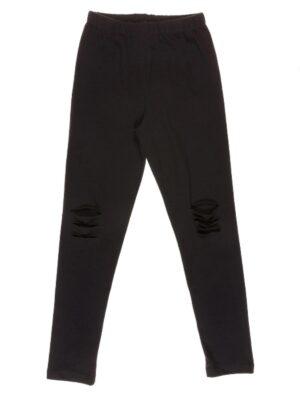 Лосини для дівчинки чорні трикотажні з розрізами на колінах