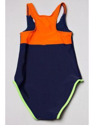 Купальник сдельный спортивный синий синий с оранжевыми вставками Eduta