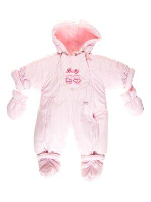 Зимний комбинезон для новорожденной трансформер розовый 2 в 1 с овчиной Baby-р