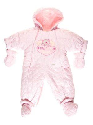 Комбінезон для новонародженого демісезон рожевий з ведмедиками Pikowany