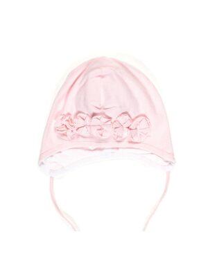 Шапочка для дівчинки ошатна рожева на зав'язках Malusia