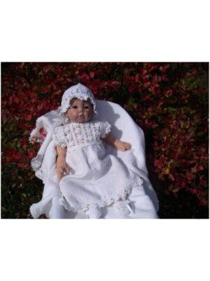 Комплект хрестильний для дівчинки білий ручна робота Bialy Kwiatuszek