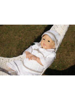 Комплект хрестильний для хлопчика білий лляний ручна робота Junior