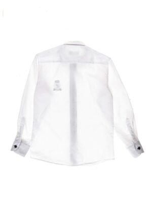 Рубашка для мальчика с фирменной эмблемой белого цвета