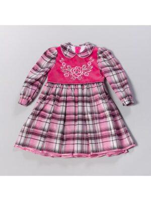 Сукня для дівчинки темно рожеве в клітку з оксамитом Wictoria
