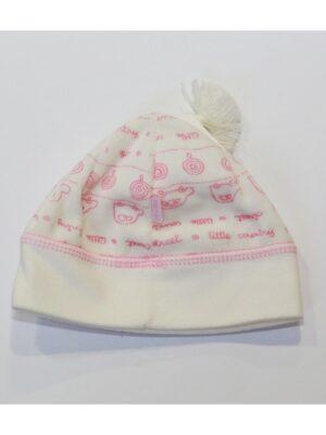 Шапка кремового кольору для новонародженої дівчинки Zwirek