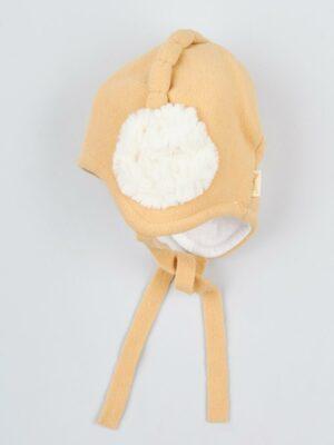 Шапка зимова для дівчинки флісова жовта Muza
