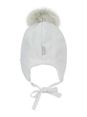 Зимняя шапка для девочки молочная травка Liza