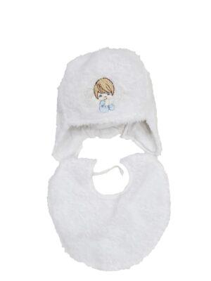 Комплект шапка и шарфик для новорожденной белого цвета для девочки Frania