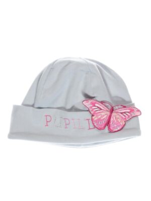 Шапка серая с розовым принтом бабочки Matylda Pupill