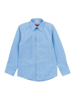 Рубашка для мальчика школьника голубая нежная в клетку