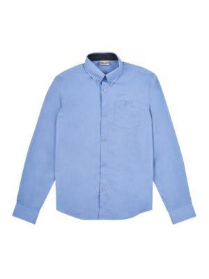 Рубашка для мальчика голубая с отделкой ворота