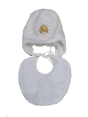 Комплект для новонародженого шапка і шарфик білого кольору для дівчинки Frania