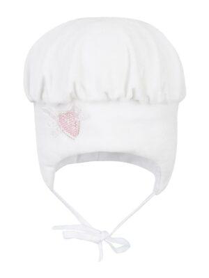 Зимова шапка для дівчинки білого кольору на утеплені