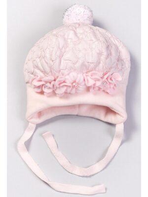 Зимняя шапка для девочки розового цвета верх плащевка Nel