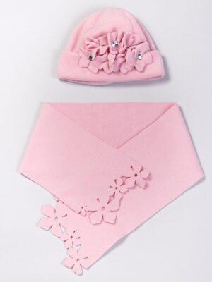 Зимовий комплект для дівчинки рожевий з нашитими квіткам Roxana