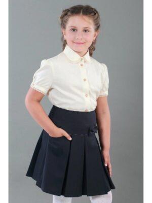 Школьная юбка черная с бантом для девочки 130