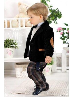 Комплект для хлопчика 5 предметів оксамитовий з картатими брюками
