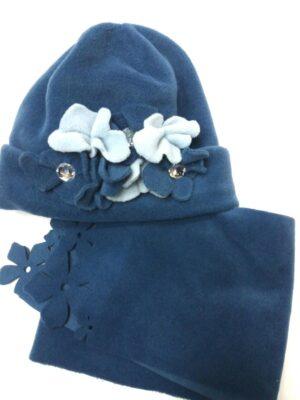 Зимовий комплект для дівчинки синій з нашитими квітками Roxana
