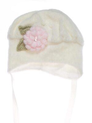 Зимняя шапка для малышки молочная флисовая Sandra