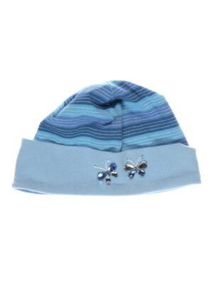 Шапка блакитна в синю смужку з намистинками Lacht Pupill