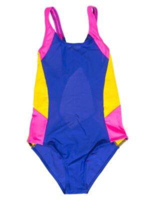 Купальник відрядний спортивний синій з жовто-рожевою вставкою Olimpia