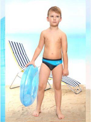 Плавки для мальчика синие с голубым и надписью Vojager Keyzi