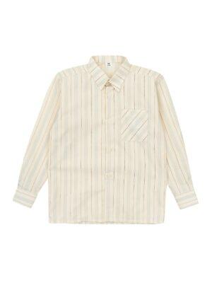 Рубашка для мальчика молочного цвета в полоску