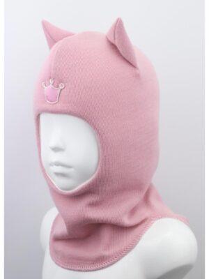 Шапка шолом світло рожевого кольору для дівчинки кішечка