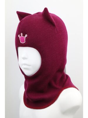 Шапка шолом бордового кольору для дівчинки кішечка