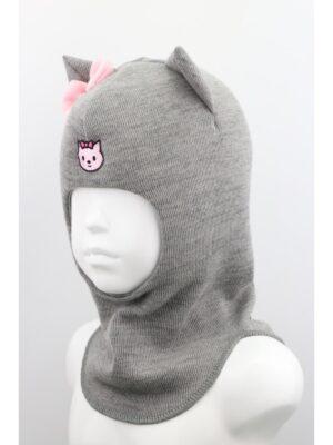 Шапка шолом для дівчинки сірого кольору Kitty 1901-01