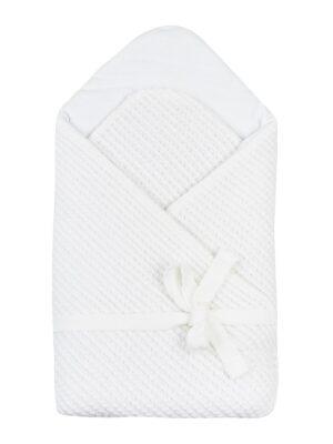 Конверт для новонародженого білого кольору верх мереживний