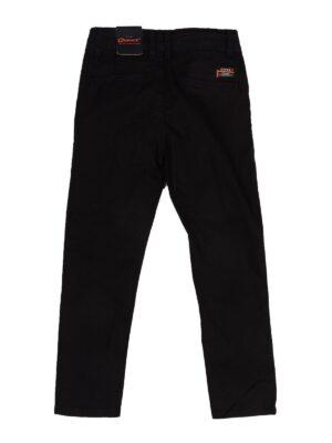 Штани для хлопчика бавовняні чорні з помаранчевим принтом