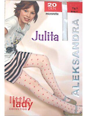 Колготы для девочки капроновые белые с сердечками Julita