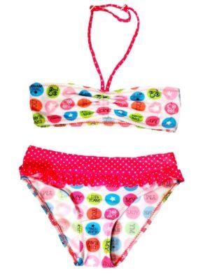 Купальник для дівчинки роздільний рожевий з білим My Dream