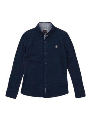 Сорочка для хлопчика синя дрібну клітку