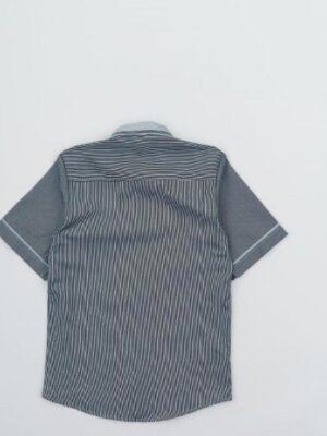 Теніска для хлопчика сіро блакитна смужка кольору