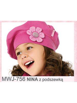 Бере малинового кольору з великою квіткою для дівчинки Nina