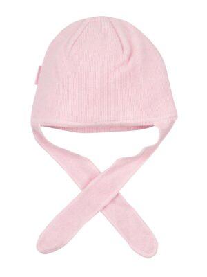 Шапка для дівчинки новонародженої рожева на зав'язках утеплена Bunny