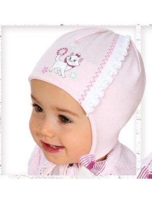 Шапка рожевого кольору з кішечкою для дівчинки Mala Kotka