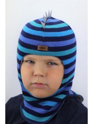 Шапка шолом в синьо блакитну смужку для хлопчика Дракоша 1615-50