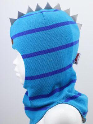 Шапка шолом в синьо блакитну смужку для хлопчика Дракоша