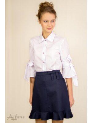 Шкільна блуза бавовняна Біла для дівчинки