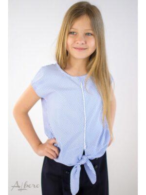 Блуза для дівчинки в смужку з перловою обробкою