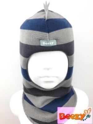Шапка шолом зимова для хлопчика сірого кольору смужка Динозаврик