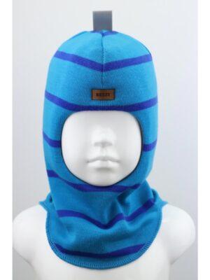Шапка шолом зимова для хлопчика Бірюза смужка