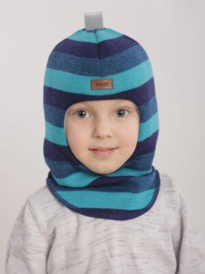 Шапка шлем зимняя для мальчика полоска сине бирюзова