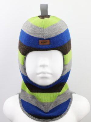 Шапка шолом зимова для хлопчика смужка зелено коричнева 1405-57