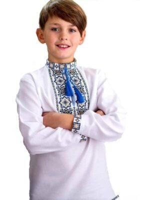 Вишиванка белая домотканная ткань для мальчика Арт. Коломыйко